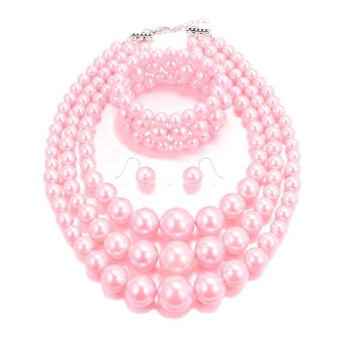 Jewelry Pearl Faux Costume - MJULY Womens Faux Pearl Costume Jewelry 3 Layers Pearl Chunky Necklace Bracelet and Earrings (Pink)