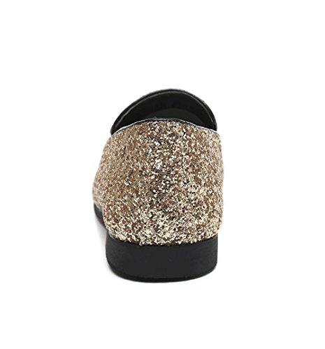 WZG Europa y los zapatos de los hombres de diamante para ayudar a los zapatos casuales de la moda de los hombres zapatos de peluquería bajas Gold