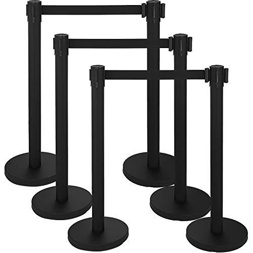 Mophorn 6 Pcs Stanchion Queue Post 36In Height Black Retractable Belt Stanchion Posts Queue Pole for Crowd Control Barriers