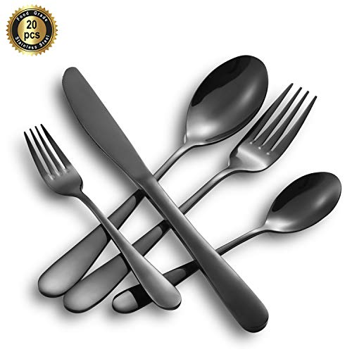 HF HOFTEN Black Silverware Set, 20 Piece Food Grade Stainless Steel Flatware Set Include Fork Spoon Knife Utensils for Daily Use and Party, Service for 4, Anti Rust, Safe in Dishwasher(HD822-BL) (Monogrammed Petit Fours)