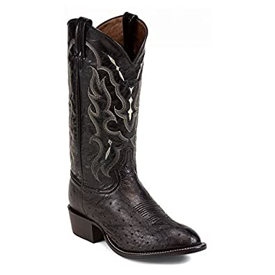 Tony Lama Mens Black Smooth Ostrich Goat Leather 13in Western Boots 7 D