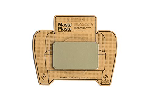 "MastaPlasta, Leather Repair Patch, First-Aid for Sofas, Car Seats, Handbags, Jackets, Plain, Beige Medium Stitch 4""x2.4"""