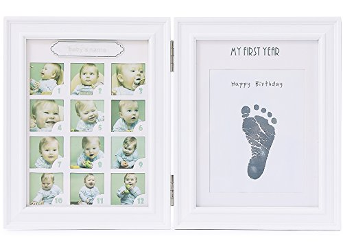 Baby Handprint and Footprint Photo Frame kit (White)-