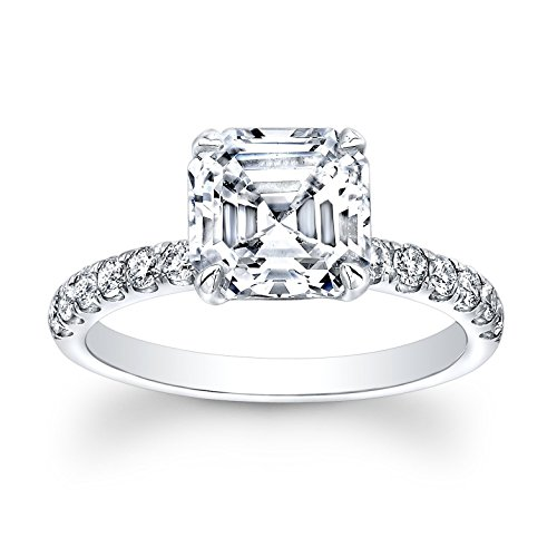 Women's Asscher Cut 2 carat White Sapphire engagement ring 0.33 G-VS2 diamonds (Asscher Vs2 Ring)