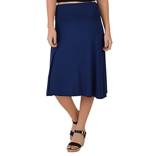 Stretch is Comfort Women's Plus Size Knee Length Flowy Skirt Navy Blue 2X