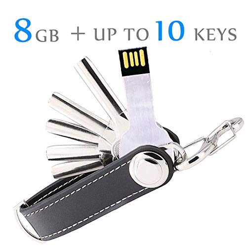 Key Organizer Keychain, URUTOREO Artificial Leather Compact Key Holder, Secure Locking Mechanism, Pocket Key Chain up to 10 Keys with 8G USB Flash Drive U Disk-Black ()