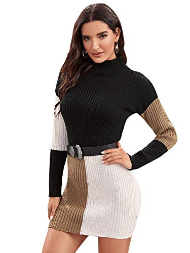 SheIn Women's Bodycon Rib Knit Colorblock Mini Sweater Dress Without Belt Black and White Small