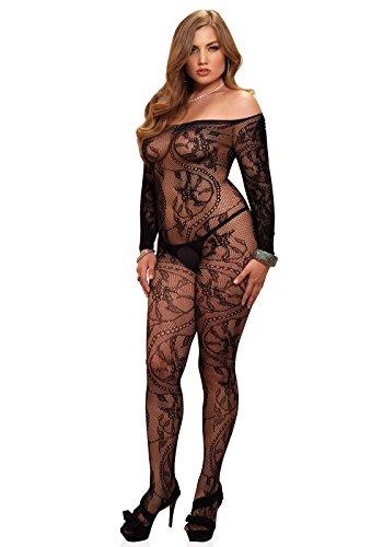 Leg Avenue Women's Plus-Size Spiral Lace Off Long Sleeve Body Stocking, Black, Plus Size (Lace Avenue Leg Bodystocking)