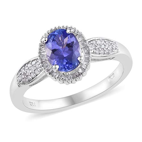 - Tanzanite Diamond Baguette Halo Ring 925 Sterling Silver Platinum Plated Jewelry for Women Size 9 Ct 1.5