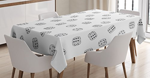 Ambesonne Casino Decorations Tablecloth by, Dices Ornament Gambling Random Fortune Square Cubes Monochrome Design, Dining Room Kitchen Rectangular Table Cover, 60 X 84 Inches
