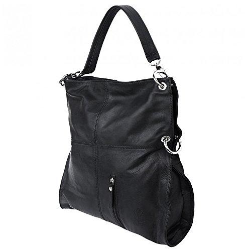 027cc847055de2 Umhängetasche Hobo Bag 2in1 Damen Handtasche Leder schwarz Crossover  Schultertasche OTF102S ...