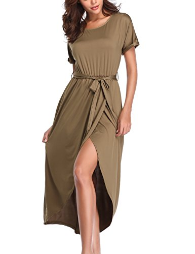 Party Army Xiber Summer Tunic Casual Dress Sleeve Women's Short Long Maxi vXrwqX7Fx