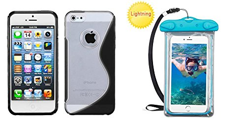 Combo pack MYBAT Transparent Clear/Solid Black (S Shape) Gummy Cover for APPLE iPhone 5 And Universal Blue Lightning