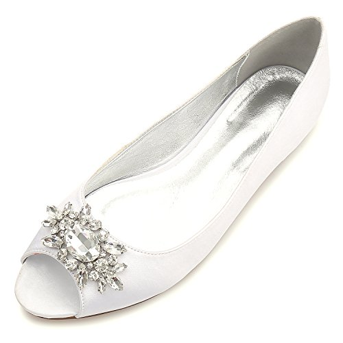 MarHermoso Womens Peep Toe Flats Elegant Ivory Satin Wedding Bridal Ballet ()