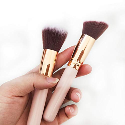 Foundation Makeup Brush Flat -Perfect For Blending Liquid, Cream or Flawless Powder Cosmetics - Buffing, Stippling, Concealer - Premium Quality Synthetic Dense Bristles!