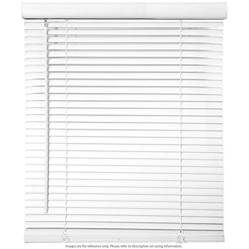 Cordless Window Blinds 1″ Slat PVC Vinyl Venetian Horizontal Privacy Shade Anti-UV White – 38″ W x 64″ H