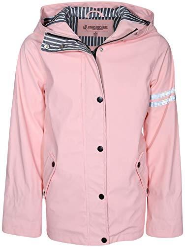 - Urban Republic Girls Vinyl Jacket Raincoat with Hood, Baby Pink, Size 10/12'