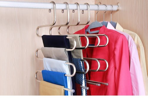EUTTEUM 5 Layers S Shape Multi-purpose Pants Hanger Trousers Tie Towel Rack - Sunglasses Picture On Put