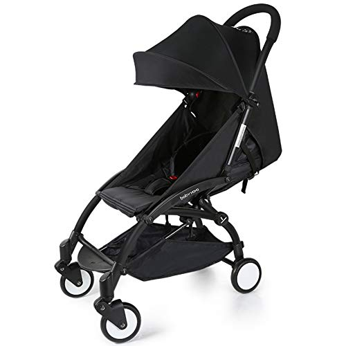 Baby yoya Baby Stroller Ultra-Light Umbrella Folding Baby Carriage (The Third Generation – Black Pole -Black)
