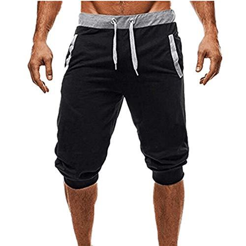 ZOMUSAR Men Casual Sport Mid Waist Fitness Leggings Elastic Waist Stretchy Bodybuilding Bermuda Sweatpants (L, Black)
