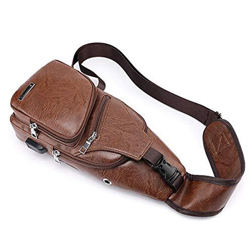 con Porta di Ricarica USB Grande Moda Marrone Chiaro FinukGo Borsa da Viaggio a Tracolla antifurto per Uomini con Tracolla Resistente alluomo
