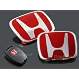 JDM Red H Front & Rear Emblem + Key Cover Combo 06 -11 Civic 4 Door Si Brand New