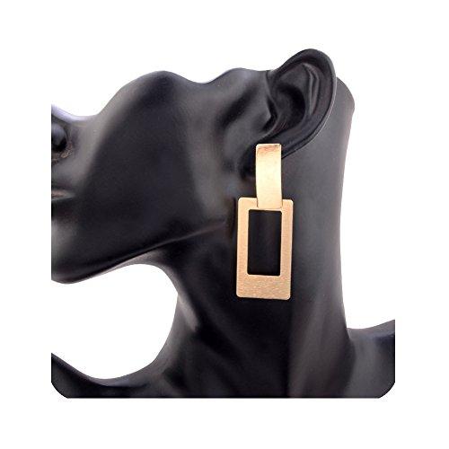 Gudukt Gold Geometric Earrings Link Statement Rectangle Simple Drop Earrings For Women Girls ()