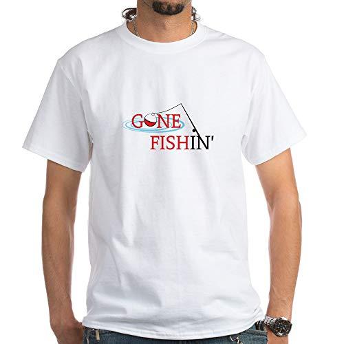 CafePress Gone Fishing Bobber and Fishing Pole T Shirt 100% Cotton T-Shirt, White