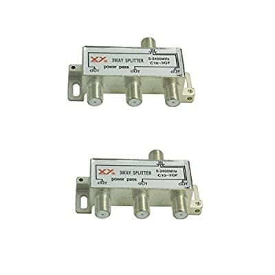 Sienoc 2 packs 3-Way 5~2400 MHz Coax Cable Splitter Cable TV Antenna Video HDTV