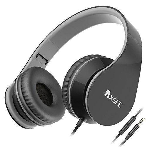 Folding Pro Dj Headphones - IAXSEE I70 Wired On-ear Headphones with Microphone and Volume Control Stereo Lightweight Adjustable Headsets for iPad iPod Android Smartphones Laptop Mp3(Black Gray)