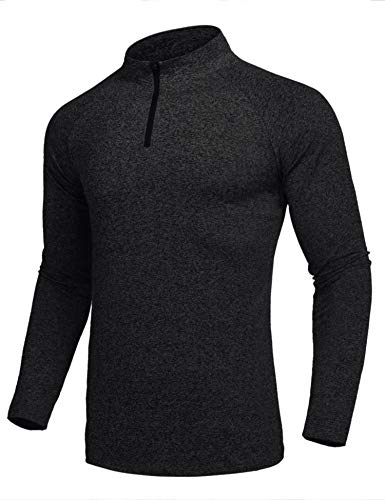 COOFANDY Men's Long Sleeve Active 1/4 Zip T Shirt Cool Dry Training Gym Pullover ()