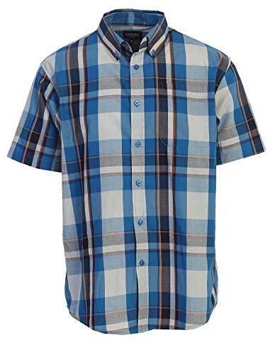 Gioberti Men's Plaid Short Sleeve Shirt, Turquoise/Orange, - Shirt Mens Sleeve Short Large