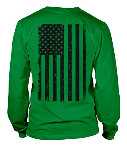 Distressed Black USA Flag - United States Unisex Long Sleeve Shirt (Kelly - Back Print, XXX-Large)