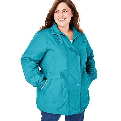- Woman Within Women's Plus Size Fleece-Lined Taslon Anorak - Deep Turquoise, 3X