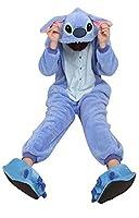 Adult Cartoon Blue Stitch Cosplay Halloween Costume Pajamas Onesies