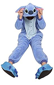 Adult Cartoon Blue Stitch Cosplay Halloween Costume Pajamas Onesies