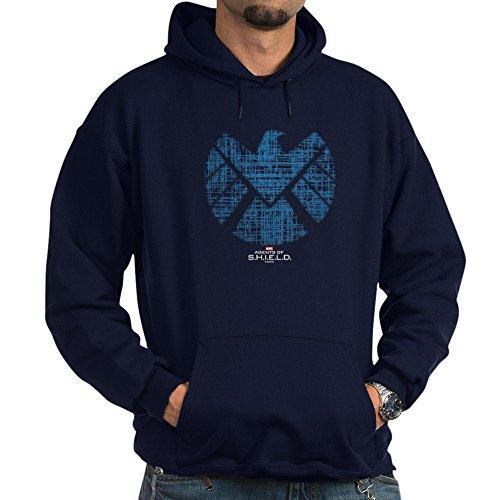 (CafePress Shield Logo Alien Writing Pullover Hoodie, Classic & Comfortable Hooded Sweatshirt Navy)