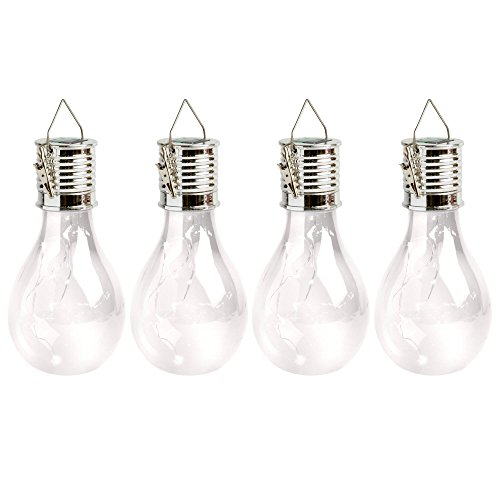 Price comparison product image 4 Solar Clear Decorative Hanging Light Bulbs with Clips / For Outdoors / Umbrella's