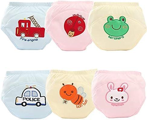 AUBIG Unisex Baby Training Underwear 4 Layers Cotton Diaper Pants Pack of 6