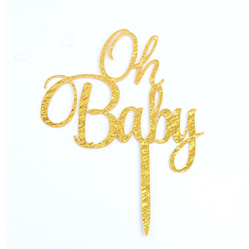 Firefairy(TM OH Baby Gold Cake Topper Baby Shower Birthday Party Decoration