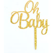 OH BABY Gold Cake Topper Baby Shower Birthday Party Decoration