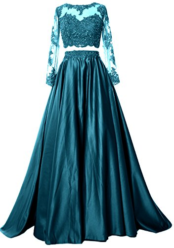 Dress Satin Piece Prom Evening MACloth Teal Long Two Formal Lace Women Gown Sleeve YEqfZ