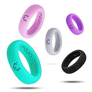 PojoTech Silicone Wedding Ring For Women Antlers Style(Black+Pink+Purple+Silver+Green, 5(15.7mm))