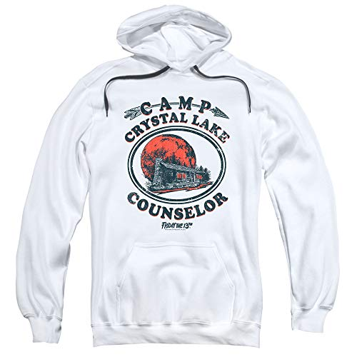 Friday The 13th Game Camp Crystal Lake Counselor Pullover Hoodie & Stickers (X-Large) White (Friday The 13th Best Counselor)