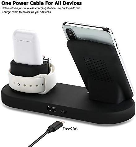 IPhone 11シリーズ/ XS MAX/XR/XS/X / 8月8日プラス/サムスンとの互換性、高速アップルiWatchシリーズのために4月3日/ 2/1 / AirPodsを充電スタンド1チー認定10Wでワイヤレス充電ステーション、4、