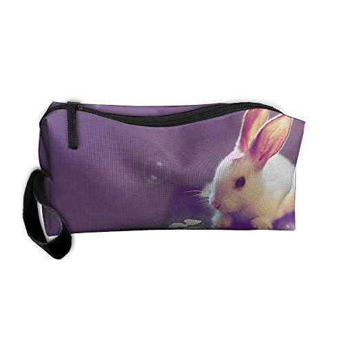 Jessent Coin Pouch Rabbits Bunny Pen Holder Clutch Wristlet Wallets Purse Portable Storage Case Cosmetic Bags Zipper ()