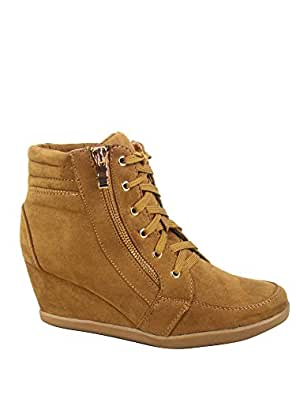 FZ-Peggy-56 Women's Fashion High Top Round Toe Lace Up Wedge Sneaker Shoes Brown Size: 6