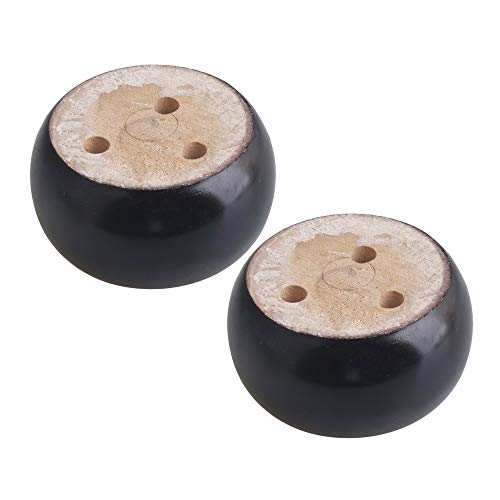 4PCS Black Round Bun Foot Wooden Furniture Sofa Legs Feet (Black, 9.5x5cm)