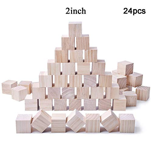 Glitz Star 24pcs Solid Wood Craft Blocks DIY Crafts Carving Painting Art Supplies for Children Shower Game Puzzle Making,2inch by Glitz Star