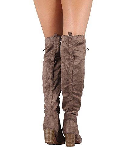RF RAUM DER MODE Caymus-24 Damen Wildleder Schnürschuh Runde Toe Chunky Heel Overknee Stiefel Taupe Wildleder